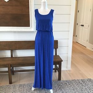Blue and black striped maxi dress